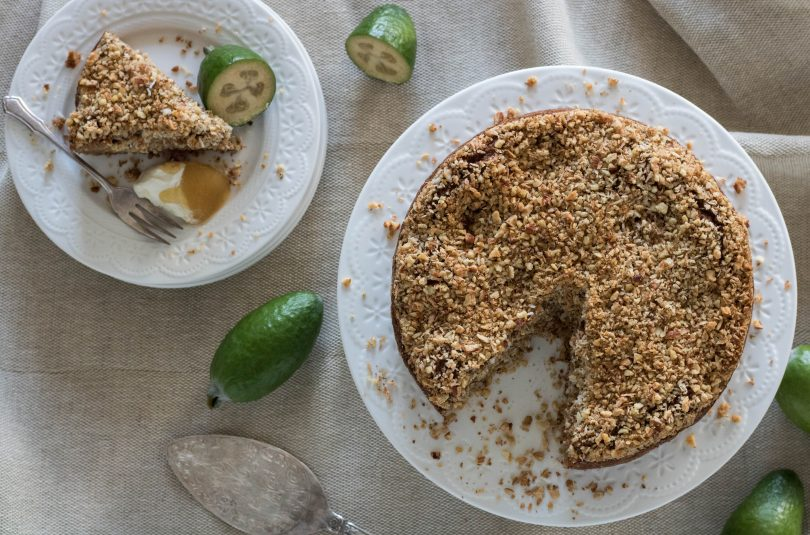 Feijoa Cake with Crumble Topping